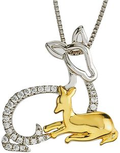 1b9aeb5d9 Two-Tone Mom and Baby Deer Pendant with Diamond Accents by Ax Jewelry