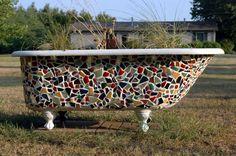Claw foot tub to Mosaic Planter