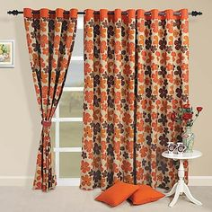 #Rise and #Shine! Wake up to a morning which is pure and radiant. The orange, crimson and brown colored flowers printed on the #curtains filter the bright glow of the sun and deliver a soothing glaze to your home.