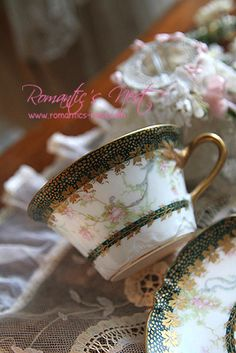 Haviland Limoges elegant green, white with gold floral teacup and saucer.  Very pretty pattern.