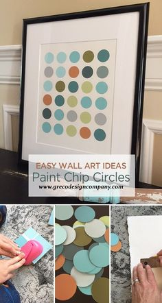 Here we are at Chapter Six in the Easy Wall Art Ideas Series: Paint Chip Circle Art. Make a trip to your local paint store or home supply store and gather up some paint chips in your favorite color… Paint Swatch Art, Paint Chip Art, Paint Swatches, Paint Chips, Paint Sample Art, Simple Wall Art, Diy Wall Art, Diy Wall Decor, Cheap Wall Art