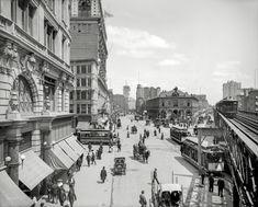 """New York Squared photo Circa 1903. """"Herald Square, New York."""" With Times Square in the distance, and the New York Times building going up."""