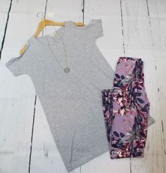 This lovely heather gray cold shoulder tunic with pockets is so adorable! Especially paired with our favorite floral leggings! This tunic is super soft and ligh Boutique Clothing, Fashion Boutique, Floral Leggings, Heather Gray, Cold Shoulder, Bell Sleeve Top, Tunic, Grey, Shopping