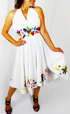Items similar to Otomi Resort Dress Halter Dress asymmetric form. Handembroidere by Otomi cotton.SociallyResponsible on Etsy Resort Dresses, Embroidery Ideas, Fabrics, Craft Ideas, Trending Outfits, Etsy, Vintage, Women, Art