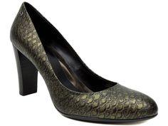 Calvin Klein Women's Olive Pumps 2 Army Green Metallic Fishnet Leather Size 10 M #CalvinKlein #PumpsClassics #Dress