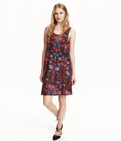 Check this out! Short, sleeveless A-line dress in viscose jersey with a printed pattern. - Visit hm.com to see more.