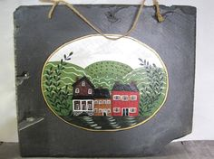 Primitive Painted Slate Roof Tile by SugarLMtnAntqs on Etsy, $27.95