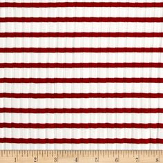 Telio Nautique Rib Knit Stripe Red from @fabricdotcom  From Telio, this unique rib knit fabric is super stretchy, with 50% four-way stretch, and features full-bodied drape for comfort and ease. Use for form-fitting dresses, skirts, cardigans, sweaters, t-shirts, and more. Colors include red and white.