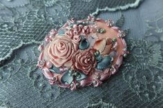 Pink-grey vintage inspired floral cameo brooch-necklace pendant-hair accessory handmade textile jewelry with ribbon embroidery Rose garden by Virvi on Etsy
