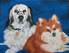 """""""Chance and Finnegan"""" 11x14 Oil on Canvas Board - Private Commission"""