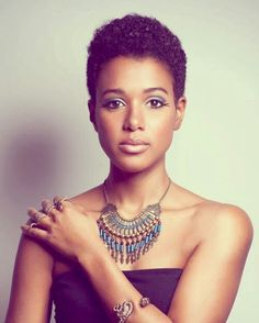 Classic short 'fro with boho chic look overall