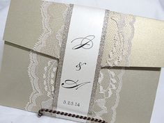 AMY - BAND4  Lace and Glitter Wedding Invitation, Invite, Vintage, Shabby Chic, Couture, Elegant