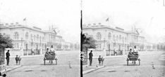 Exhibition buildings frontage, jaunting car, constable , etc in foreground, Earlsfort Terrace, Dublin