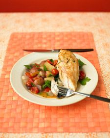 Chicken Breasts with Pepper-Potato Ragout