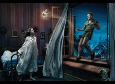 """Where You Never Have to Grow Up"" from the Disney Dream Portraits series. Photographer: Annie Leibovitz; Models: Gisele Bündchen, Mikhail Baryshnikov, & Tina Fey. (© 2008)"