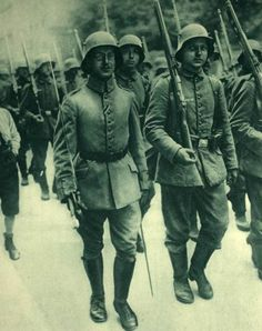 German troops in new steel helmets, 1915