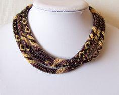 Long Beaded Crochet Rope Necklace Beadwork Fall by lutita