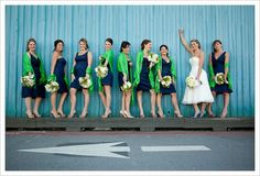 navy and green wedding colors   via catherine chen