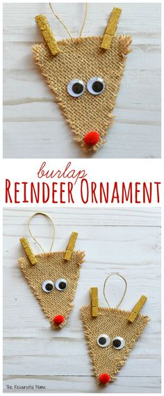 Burlap Reindeer Ornament DIY: Kids will love making this reindeer ornament inspired by a favorite Christmastime character, Rudolph the Red Nosed Reindeer for the Christmas tree. The post Burlap Reindeer Ornament appeared first on DIY Crafts. Diy Xmas, Easy Christmas Crafts, Noel Christmas, Diy Christmas Ornaments, Christmas Projects, Winter Christmas, Christmas Gifts, Christmas Movies, Christmas Ideas