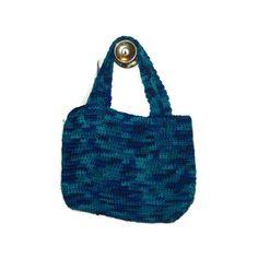 Tote Bag; Crochet Bag; Handmade Colorful Bag, Medium Tote Bag In Macaw (2.285 ISK) ❤ liked on Polyvore featuring bags, handbags, tote bags, blue tote handbags, crochet tote, tote purses, colorful purses and crochet handbags