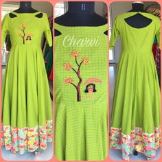 Facebook.com/CharviCollection/ #Anarkali #checks #handwork #greenfloral Neck Designs For Suits, Kurti Neck Designs, Kurta Designs Women, Dress Neck Designs, Blouse Designs, Frock Style Kurti, Party Wear Long Gowns, Stylish Dresses, Dresses For Work