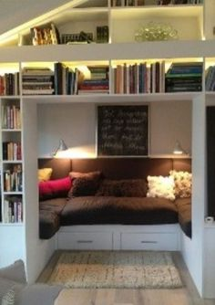 Maybe....add another wall of bookshelves parallel to the wall that mackenzies door is on, and add this type of thing.