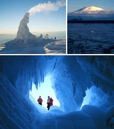 Antarctica's Mount Erebus is, literally, the hottest thing in Antarctica and when piping hot meets icy cold, strange things happen. One result of Erebus's steam heating are towering ice fumaroles and spacious ice caves.