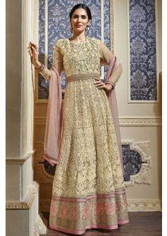 beige, costume Anarkali net rose clair