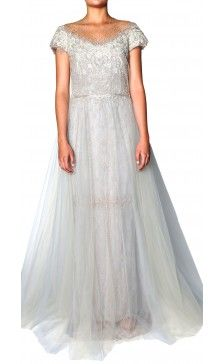 Marchesa metallic tulle overlay lace gown