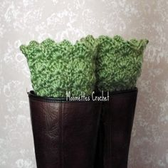 Ready for spring with pretty Sage #Green Boot Cuffs Boot Socks #Handmade Crochet #bootcuffs