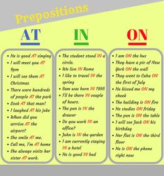 Prepositions of Time & Place: AT - IN - ON