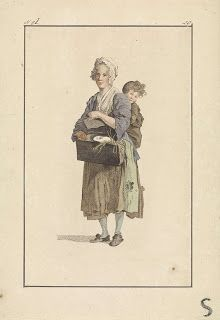 Vrouw en kind met cavia, Mathias de Sallieth, after Jacob Perkois, after Johannes Huibert Prins, 1818 - 1833 - Rijksmuseum 18th Century Clothing, 18th Century Fashion, 19th Century, Historical Costume, Historical Clothing, Beauty And The Beast Costume, Kinds Of Clothes, Working Class, Working Woman