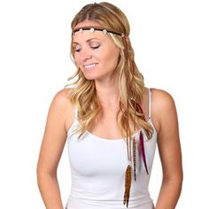 Shyanne® Women's Feather Accented Braided Leather Headband