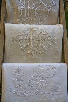 Embroidered linens from Brocante flea markets in villages around rural France.