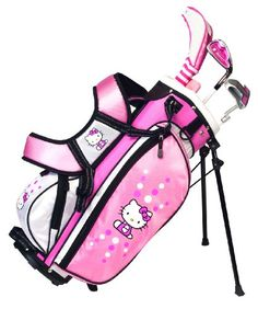 Put a smile on your child's face and make golf fun with this cute Hello Kitty Golf set. Designed for the beginner player with club heads that are lighter and more flexible shafts to help the developing player get the ball up in the air with ease.