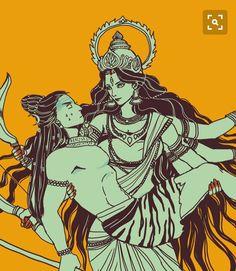"""Let me protect you"" by yang yi (mmmmmr) on DeviantArt. (Shiva and Durga) Mahakal Shiva, Shiva Art, Hindu Art, Krishna, Indian Gods, Indian Art, Kali Mata, Kali Goddess, Lord Shiva Painting"