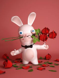 Every rose has it's thorns but I'm the one for you Cartoon Characters, Minions, Rayman Raving Rabbids, Rave Music, Cute Drawings, Bunny, Holiday Decor, Christmas Ornaments, Humor