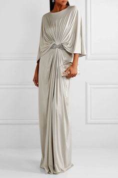 Reem Acra - Draped embellished silk-jersey maxi dress in 2020 Gray Dress, Dress Up, Draped Dress, Gray Maxi, Look Fashion, Womens Fashion, Retro Fashion, Beautiful Dresses, Fashion Dresses