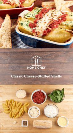 Classic Cheese-Stuffed Shells with marinara sauce and garlic bread Chef Recipes, Italian Recipes, Cooking Recipes, Vegetarian Recipes, Cheese Stuffed Shells, Hello Fresh Recipes, Home Chef, Pasta Dishes, Garlic Bread