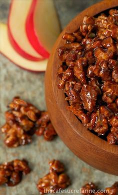 Apple Pie Candied Walnuts - A true taste of fall; fantastic as a stand-alone snack, but super versatile as a salad topping, with yogurt or as an ice cream topping!