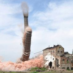 Beautiful photo of an explosive demolition. #demolition