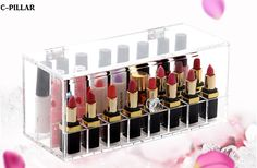 24 Grids Lipstick Box Acrylic Makeup Organizer With Dustproof Cover Cosmetics Acrylic Lipstick Free shipping
