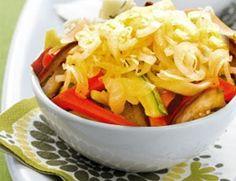 Salada de berinjela, cenoura e abobrinha
