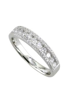 18K White Gold Diamond Band - 0.56 ctw