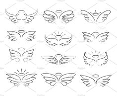 Vector sketch angel wings in cartoon style isolated on white. Vector sketch angel wings in cartoon style isolated on white. Vector sketch angel wings in cartoon style isolated on white background. Cartoon wings element line illustration Ange Tattoo, Lion Tattoo, Cute Tattoos, Small Tattoos, Tattoos Skull, Cartoon Wings, Angel Cartoon, Angel Wings Drawing, Tattoo Angel Wings