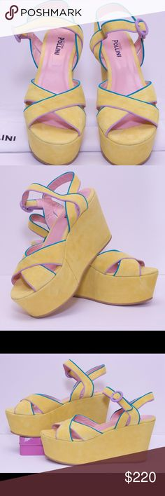 🌸 Suede Pollini platform wedges 🌸 Yellow suede platforms to elevate your spring wardrobe! These pretty wedges are 100% leather, never been worn. Pair with all black ensemble... Skinny black jeans or black opaque tights! The shoe is so fun!!! With lavender and turquoise accent piping. Comes with original box and dust bag! Pollini Shoes Platforms