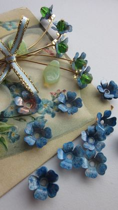15 Wonderful Vintage Metal Forget Me Not Flowers by WhoKnowsWhat