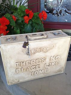 Luggage chalk painted with foam letters