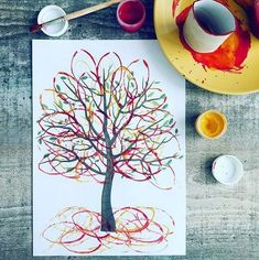 Craft Spring Preschool Art Projects 21 New Ideas Autumn Crafts, Fall Crafts For Kids, Diy For Kids, Kids Crafts, Arts And Crafts, Autumn Art Ideas For Kids, Autumn Painting, Painting For Kids, Preschool Crafts