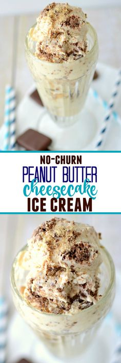 Easy No-Churn Peanut Butter Cheesecake Ice Cream - this is the easiest ice cream recipe you'll ever make! No machine needed! Easy No-Churn Peanut Butter Cheesecake Ice Cream - this is the easiest ice cream recipe you'll ever make! No machine needed! Mini Desserts, Ice Cream Desserts, Frozen Desserts, Delicious Desserts, Dessert Recipes, Frozen Treats, Easy Desserts, Easy Ice Cream Recipe, Homemade Ice Cream